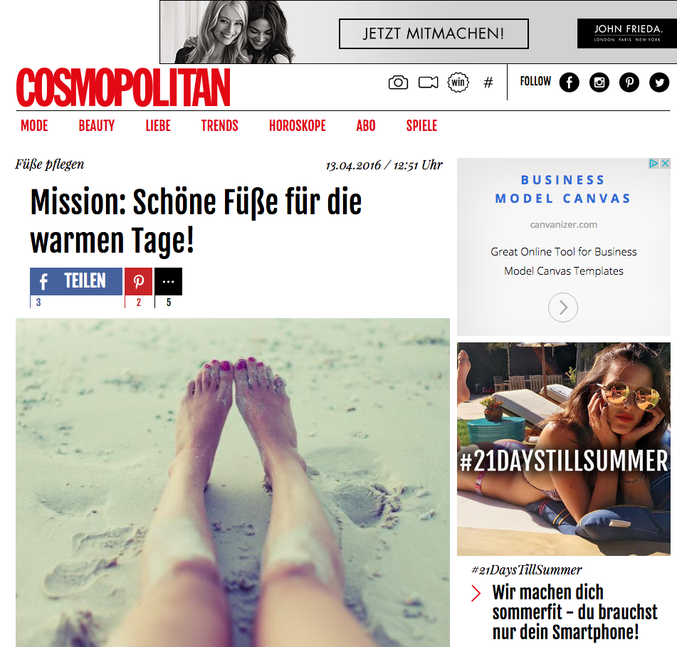 THE FOOTMATE SYSTEM on COSMOPOLITAN GERMANY