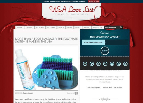 THE FOOTMATE SYSTEM on USA Love List